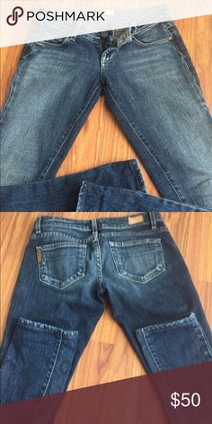 Paige blue heights straight skinny In like new condition Paige Jeans Jeans Skinny