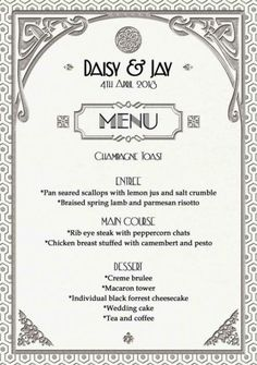 Gatsby Art Deco Wedding Menu or Dinner Party by WestminsterPaperCo Party Food Menu, Wedding Food Menu, Dinner Party Menu, Dinner Parties, Parties Food, Gala Dinner, Deco Wedding Invitations, Diy Wedding Favors, Wedding Ideas