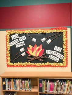 S'more bulletin board Homestead Library This would be cute in a reading corner. It displays a truth and it's a great reminder for the students, but it also is funny. Bulletin Board Paper, Reading Bulletin Boards, Bulletin Board Display, Classroom Bulletin Boards, Classroom Themes, Classroom Libraries, Camping Theme For Classroom, Ks1 Classroom, Reading Corner Classroom