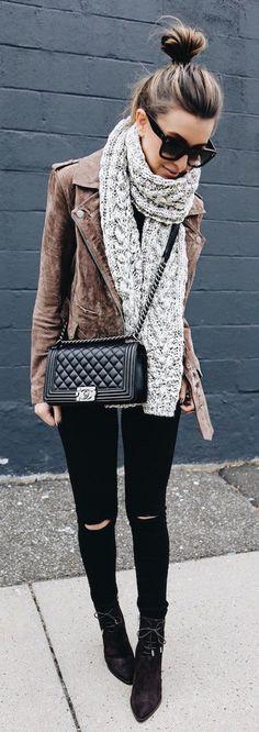 Brown Suede Jacket / Black Ripped Skinny Jeans / Black Booties