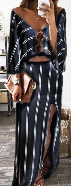 #summer #outfits / black striped two piece dress