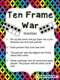 Ten Frame War This is a great game to add to your math workstations. What is included? Direction Sheet 27 Ten Frame Cards Two Different Recording Sheets Direct. Kindergarten Math Games, Math Classroom, Teaching Math, Math Stations, Math Centers, Math Resources, Math Strategies, Second Grade Math, Grade 1