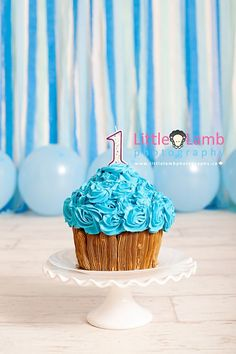 Ottawa baby cake smash photographer.  Cupcake style cake on cake stand with blue streamers and blue balloons.  Photo by Little Lamb Photography.