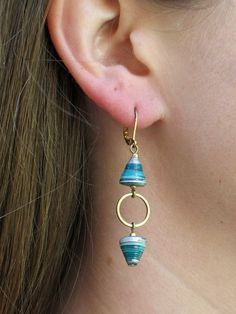 Turquoise and Silver All Wound Up Earrings  by RockPaperJewelry