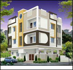 Apartment facade balconies dreams New Ideas Single Floor House Design, House Front Design, Modern House Design, Building Elevation, House Elevation, New House Plans, Modern House Plans, Exterior House Colors, Exterior Design