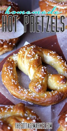 Home Made Hot Soft Pretzels oh so EASY! - The Cottage Market - - Are you in the mood for some delicious hot soft pretzels?They are just about an hour away once you check out this post! Bon Appetit My Friends! Baking Recipes, Snack Recipes, Beef Recipes, Cake Recipes, Kitchen Aid Recipes, Artisan Bread Recipes, Dinner Recipes, Cabbage Recipes, Noodle Recipes
