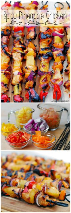 Spicy Pineapple Chicken Kabobs recipe that is perfect for the grill! A delicious… Spicy Pineapple Chicken Kabobs recipe that is perfect for the grill! A delicious combo of spicy and sweet. I Love Food, Good Food, Yummy Food, Pineapple Chicken Kabobs, Chicken Skewers, Chicken Kabob Marinade, Grilled Chicken Kabobs, Chicken Tenders, Paleo Recipes