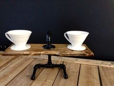 Handcrafted Wood and Steel Pour Over Coffee Brewing Stand