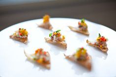 crab and apricot salad crisp  - BC Dungeness crab, apricots, cucumber, red pepper, cilantro, avocado mayo and snap peas with Thai Nam Jim dressing on a wonton crisp  - Brett Beadle Photography.