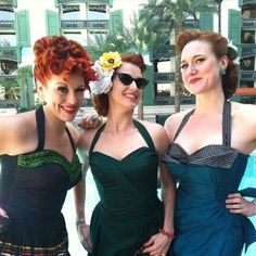 A Trio of Beauties in their Whirling Turbans at Viva Las Vegas