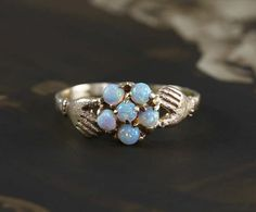 Antique Opal Cluster Ring 14k Yellow Gold Hands Holding