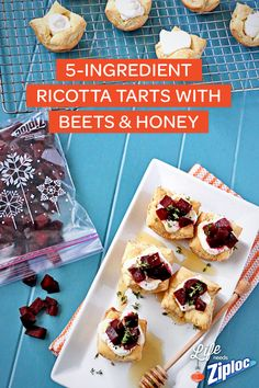 """As fancy as these 5-Ingredient Ricotta Tarts look, the recipe is actually really simple! Try these for a """"fancy"""" hors d'oeuvres at family dinner this week. They're great to bring to holiday parties and Thanksgiving potluck-style dinners too. Just separate with wax paper in a Ziploc® Holiday container for easy transport."""