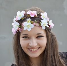 Flower Crown, White Pink Blossom Flowers Wedding Double Crown, Woodland Fairy Flower