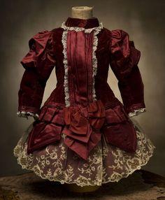 JUMEAU ANTIQUE DRESSES   Antique Maroon SIlk & Velvet Dress for Jumeau, Bru, Steiner, French ...