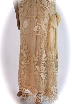 "#antique #Vintage #romantic Handmade Filet #Lace Gown, ""Fruits of Life"" Heirloom #Dress c. 1928"