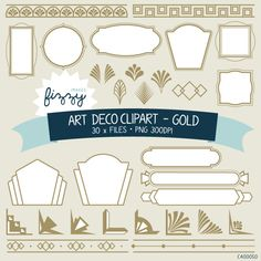 PNG: 30 x Art Deco 1920s 1930s Gold Clipart - Digital files PNG 300dpi with Instant Download. CA0050 on Etsy, $4.00
