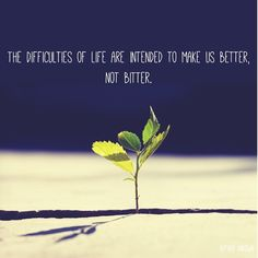 The difficulties of life are intended to make us better, not bitter.
