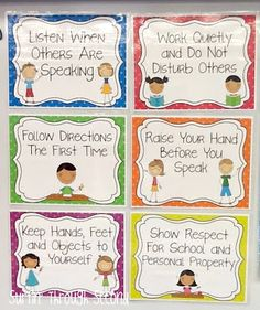 Visuals to display in the classroom of what is expected of the students.