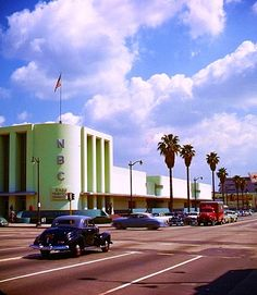 NBC radio studios, corner of Sunset Blvd & Vine St, Hollywood (in Kodachrome color)