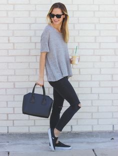 Casual Tee & Slip-On Sneakers | LivvyLand|Austin Fashion & Style Blog by…