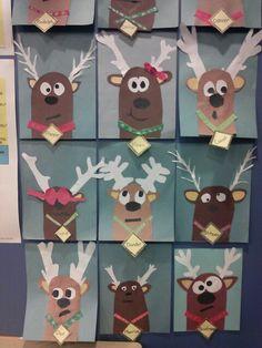 Reindeer art - Schule (Einschulung ) - - New Ideas Preschool Christmas, Christmas Activities, Christmas Crafts For Kids, Preschool Crafts, Christmas Themes, Holiday Crafts, Christmas Art Projects, Theme Noel, Art Classroom