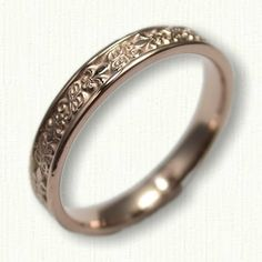 14kt Rose Gold Custom Initial with Fleur de Lis Wedding Band