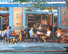 Cafe Art New York Art West Village Cafe Fine Art Print, Caffe, food, Bleecker St New York City rustic turquoise blue Cityscape Gwen Meyerson Greenwich Village, West Village, Art Cafe, Village Photography, Blue Palette, Nyc Art, Blue City, New York Art, Painting Inspiration