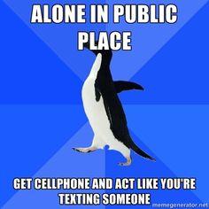 Socially Awkward Penguin #laughterheals http://www.pinterest.com/eileenwhiterose/laughter-opens-the-heart-raises-us-up/