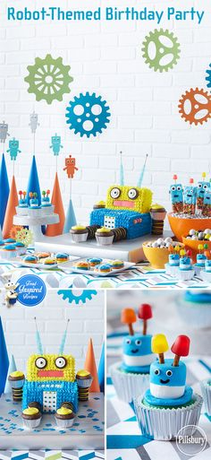 We can't get enough of the robot trend. So, we went all out on this party table—complete with colorful gears, zany cupcakes, and an out-of-this-world Robot Party Cake