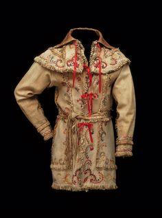 Caped skin coat, 1860-1870, deerskin, Plains Cree or Metis
