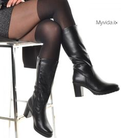 Womens moda stivali alti al ginocchio Ladies lato piatto con