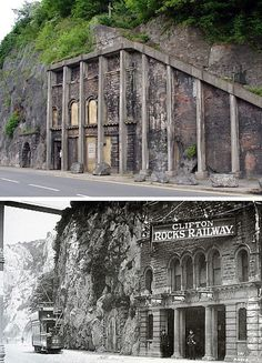 Then and now: the abandoned Clifton Rocks Funicular Railway in Bristol.