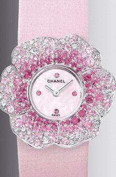 Montre «Camélia» en or blanc 18 carats, pavée saphirs roses et diamants, cadran nacre avec index saphirs roses, sur bracelet en satin technologique rose, Chanel Joaillerie.