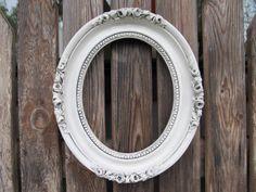 Vintage Antiqued White Oval Ornate Frame by DebosHomeDecor on Etsy, $34.95