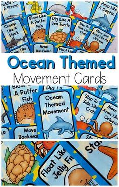 Art therapy activities for toddlers Preschool Ocean Activities. Add these fun movement cards to your ocean unit. Use these for a brain break or gross motor time. Your kids will love all of the ocean animal moves! Animal Activities For Kids, Sea Activities, Gross Motor Activities, Art Therapy Activities, Movement Activities, Group Activities, Vocabulary Activities, Physical Activities, Ocean Lesson Plans