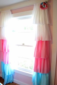 DIY Window treatments...cute but personally I'd myself stick to a solid color for window shades, butttt still cute(: & good idea!