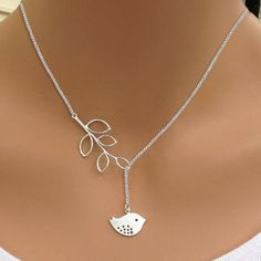 """Fashion Women's Bird Branch Leaves Charms Pendant Cross Simple Jewelry 18"""" Chain…"""