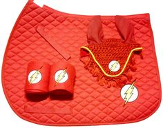 Custom Flash Gordon logo embroidery on a Saddle Pad, set of fleece Polo Wraps (2) and a croched Fly Bonnet available in red, white or black