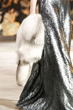 silver sequined gown with fur stole by Marc Jacobs