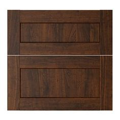 """IKEA doorfronts ROCKHAMMAR drawer front, set of 2, wood effect brown Width: 23 7/8 """" Height: 23 7/8 """" Thickness: 3/4 """" Width: 60.5 cm Height: 60.5 cm Thickn..."""