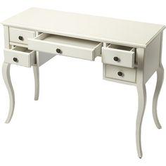 Tuck an elegant stool beneath this crisply finished desk to create a chic vanity, or pull up a colorful office chair for an inspired workspace.