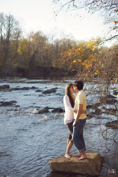 so romantic! <3 - #riverfront #nature #rustic #autumn #fall #engagement photography - raleigh nc #vintage #wedding photography