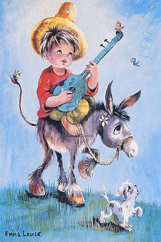 Dallas Simpson DONKEY SERENADE children's print, PAPER OR CANVAS, various sizes | eBay