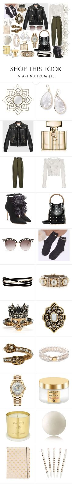 """""""String of Pearls"""" by p0llyinurpocket ❤ liked on Polyvore featuring Ippolita, Gucci, Alexander Wang, Zimmermann, Dsquared2, Kenneth Jay Lane, Konstantino, Alexander McQueen, Rolex and Acqua di Parma"""