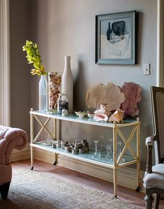 bar cart console table in new york apartment