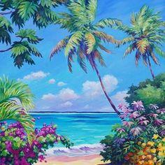 Ocean View with Breadfruit Tree by John Clark Tree Canvas, Canvas Art, Canvas Prints, John Clark, Hawaiian Art, Vintage Hawaiian, Island Theme, Scenery Paintings, Caribbean Art