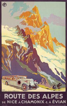 PLM - Route des Alpes de Nice à Chamonix & à Evian - 1920 - illustration de Julien Lacaze - France -