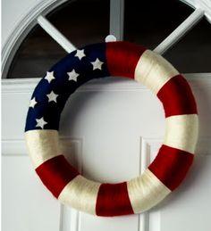 Super Easy Patriotic Wreath    #DIY