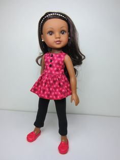 Hearts 4 Hearts  doll clothes - Pretty peplum top  and black leggings & matching headband by JazzyDollDuds