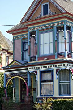 Colorful Victorian house on Hillsdale St, Eureka CA